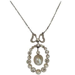 Edwardian Delicate Diamond And Natural Pearl Pendant Necklace With Bow