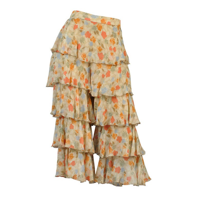 valentino silk floral ruffle tiered pants at 1stdibs