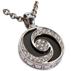 Bulgari Spinning Diamond Gold Onyx Optical Illusion Pendant WITH Chain
