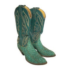 1980s Tony Lama Kelly Green Snake Skin Western Boot w/ Stitched Upper