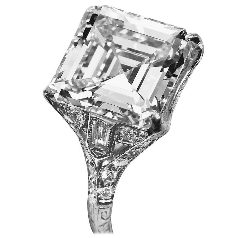 square diamond wedding rings deco 6 12 carat square emerald cut engagement 7644