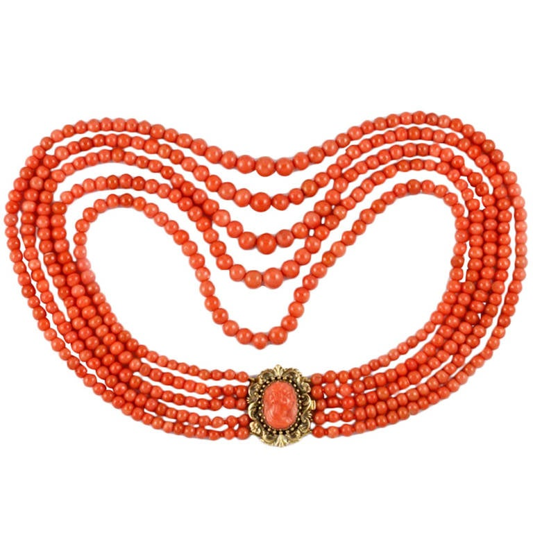 Victorian Five-Row Coral Necklace For Sale