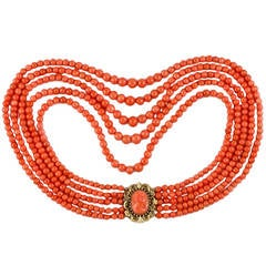Victorian Five-Row Coral Necklace