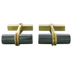 Tiffany & Co. Hematite Gold Cufflinks