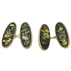 Antique Shakudo Gold Cufflinks