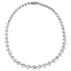 13.5 Carat Platinum Marquise and Round-Cut Diamond Necklace