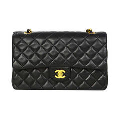 """Chanel Black Lambskin Quilted Vintage Double Flap 10"""" Classic Bag"""