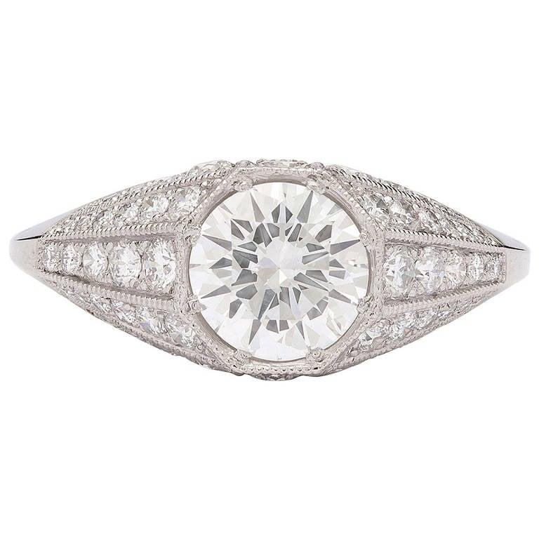 1.04 Gia Cert Diamond Platinum Ring