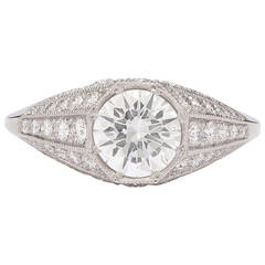 1.04 Gia Cert Diamond Platinum Ring