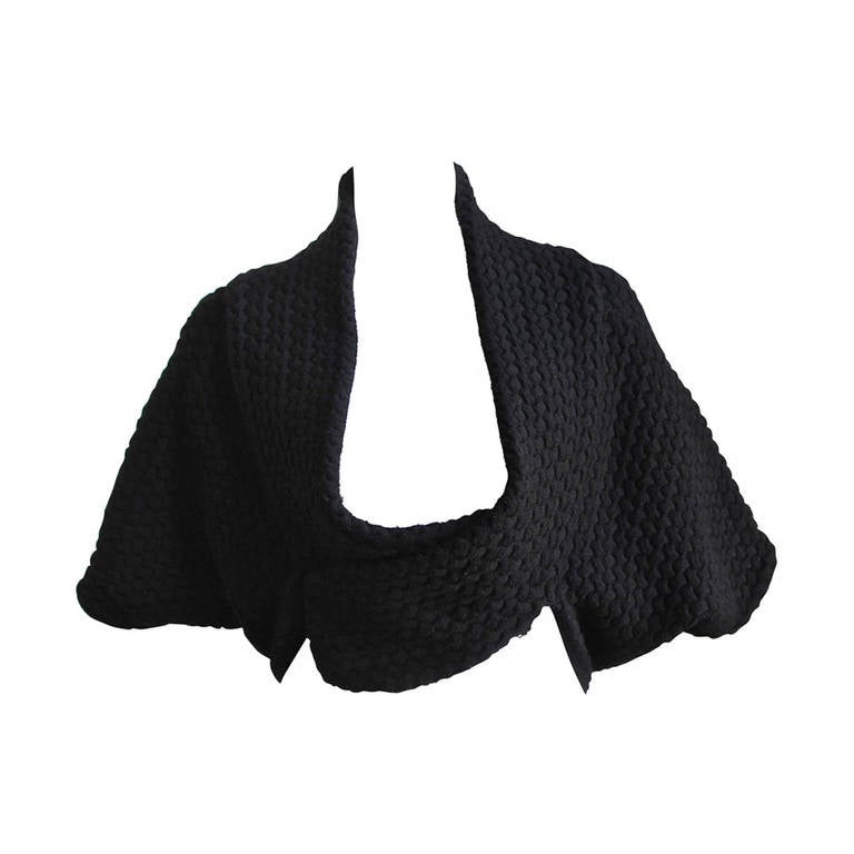AZZEDINE ALAIA jet black basket weave shrug
