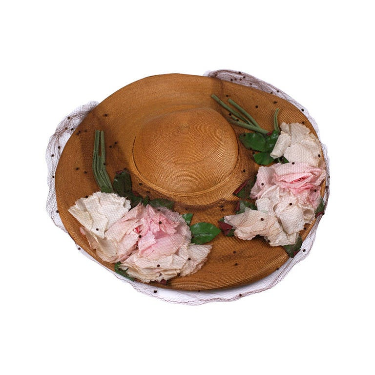 Antique Straw Hat with Silk Roses For Sale