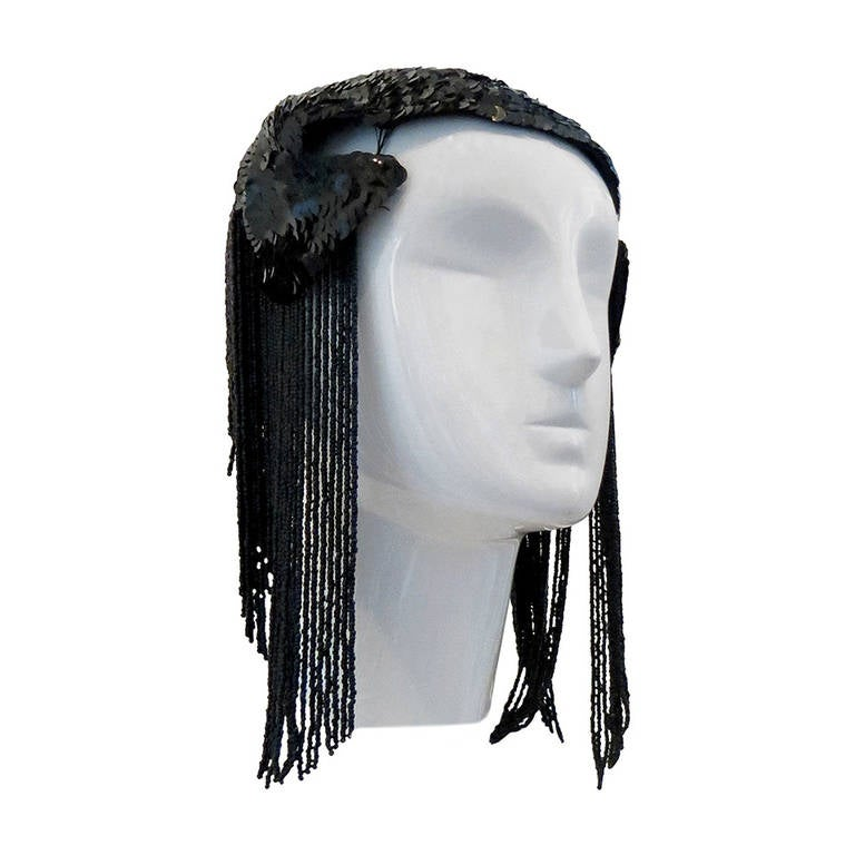 1950s Black Sequin Headdress With Jet Black Bead Fringe For Sale