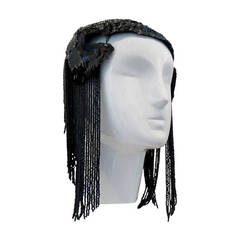 1950s Black Sequin Headdress With Jet Black Bead Fringe