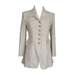 HERMES Vintage raw silk riding jacket superb details flecked oatmeal 6