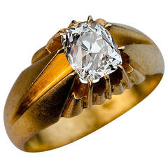 Antique Russian D Color Cushion Cut Diamond Gold Solitaire Ring