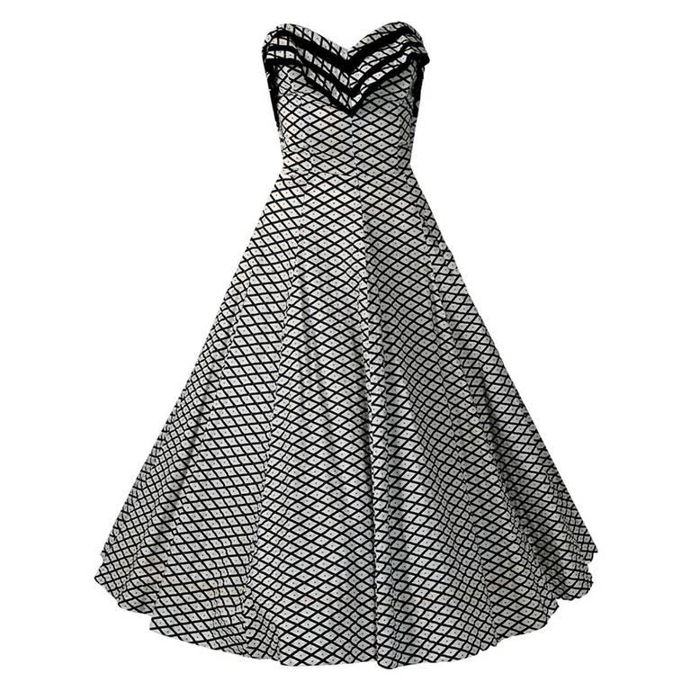 1950's Metallic Polka-Dot Black White Print Cotton Strapless Sun Dress & Shawl 1