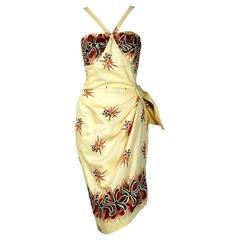 1950's Hawaiian Starfish Novelty-Print Yellow Cotton Halter Sarong Wiggle Dress