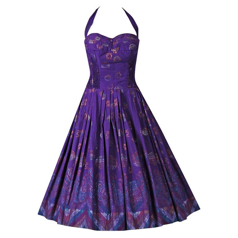1950's Alfred Shaheen Hawaiian Purple Print Cotton Halter Circle-Skirt Dress For Sale