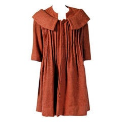 1958 Pierre Cardin Haute-Couture Documented Butterscotch Pleated Wool Coat