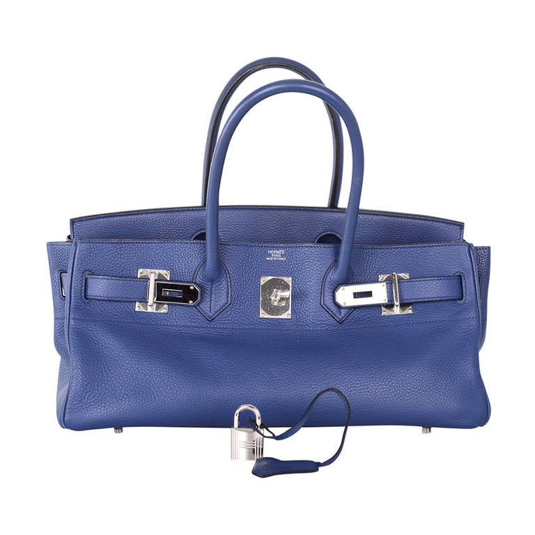 HERMES BIRKIN BAG SHOULDER JPG GORGEOUS BLUE 42cm PALLADIUM HARDWARE JaneFinds 1