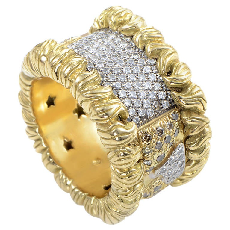 h stern wide yellow gold diamond pave band ring 1