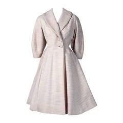 1940's Lilli-Ann Elegant Ivory-White Wool Rockabilly Princess Swing Coat