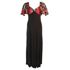 Romantic Vicky Tiel Coral Silk Velvet Burnout Gown with Bell Sleeves
