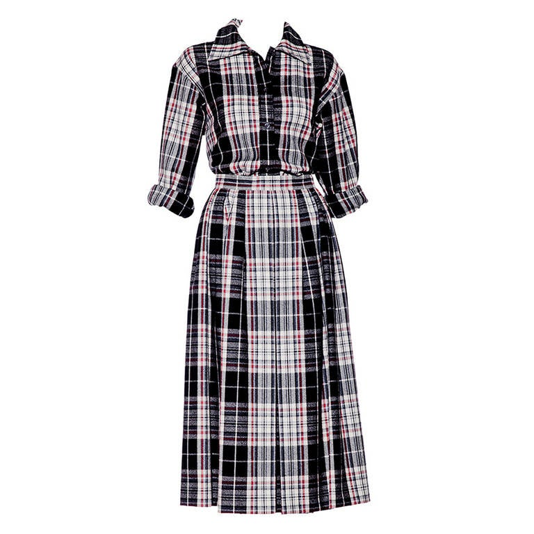 1970s SAINT LAURENT flannel  plaid shirt and skirt set 1