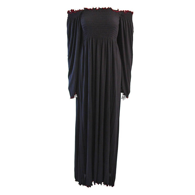 Wonderful Vicky Tiel Navy Full Length Stretch Dress with Red Accent