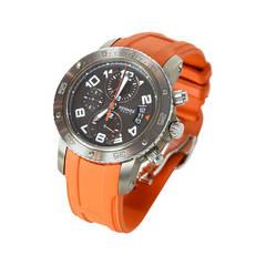 HERMES Titanium 44mm Clipper Automatic Watch w. Orange Rubber Band rt. $7,400