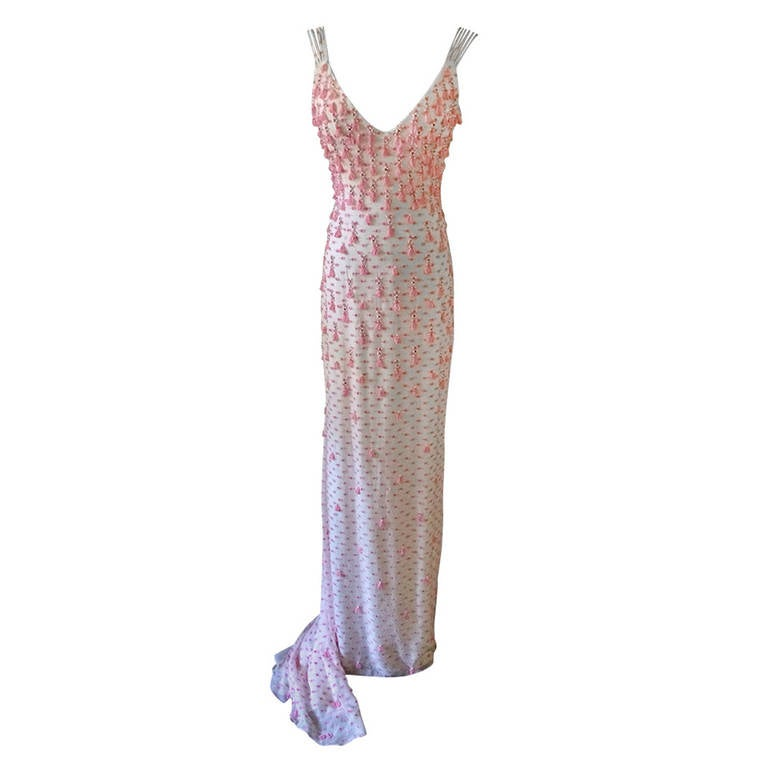 Exquisite Never Worn Beaded Evening Dress by Badgley Mischka Size 4 For Sale