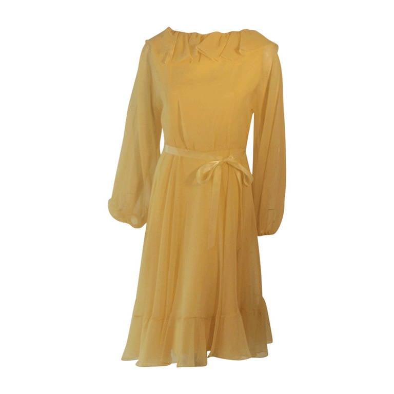 Travilla Yellow Chiffon Cocktail Dress, circa 1970 1