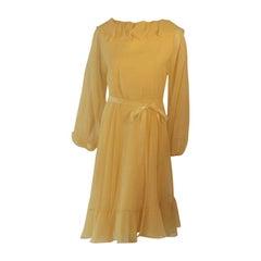Travilla Yellow Chiffon Cocktail Dress, circa 1970