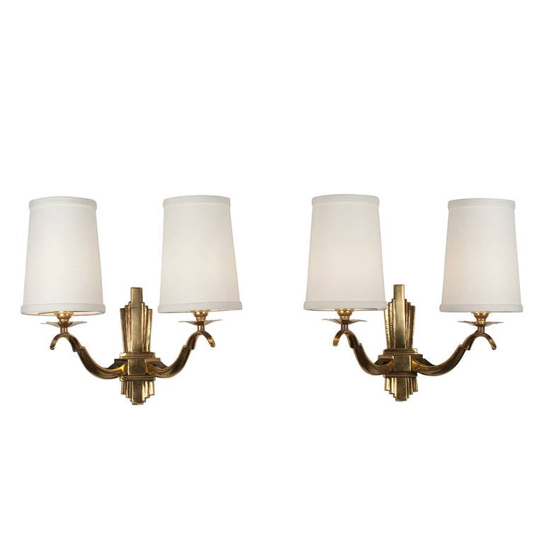 Large Elegant Wall Sconces : Elegant Pair of Two-Arm Bronze Sconces at 1stdibs