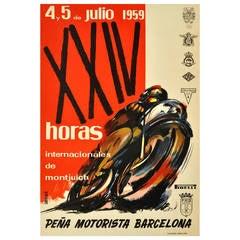"Original Vintage Motorbike Race Poster, ""XXIV Horas Internacionales De Montjuich"""