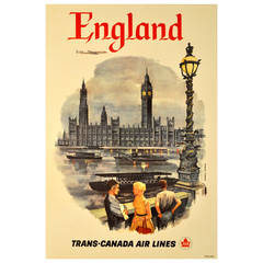 Original Vintage Travel Poster Advertising England by Trans-Canada Airlines