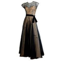 Stunning 1950s Lace Illusion Black & Nude Vintage Evening Gown