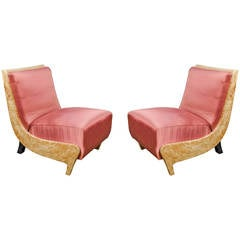 Vintage Italian 1940s Pair of Bedroom Chairs Attributed to G. Ulrich