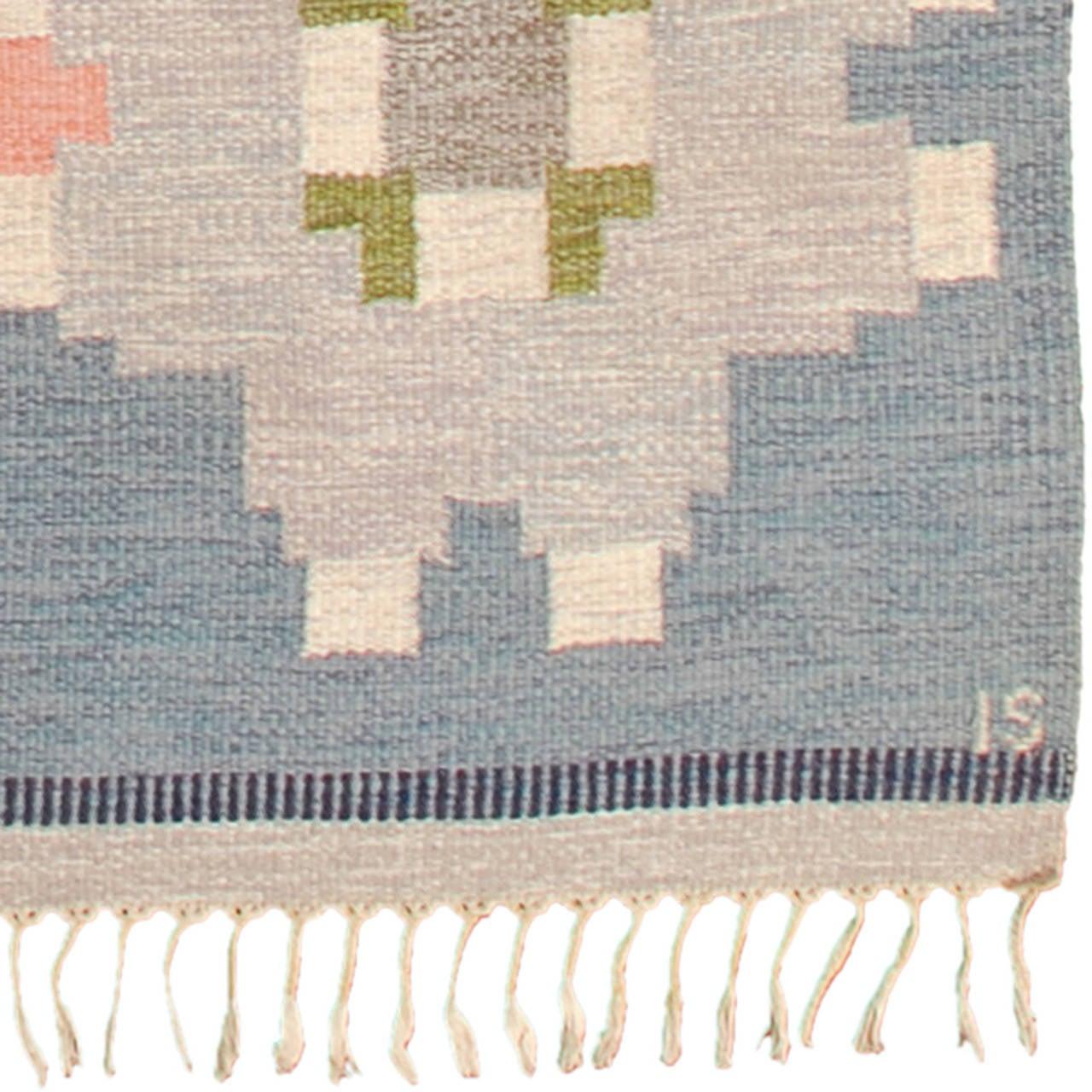Scandinavian Modern 20th Century Swedish Flat-Weave Carpet by Ingegerd Silow For Sale