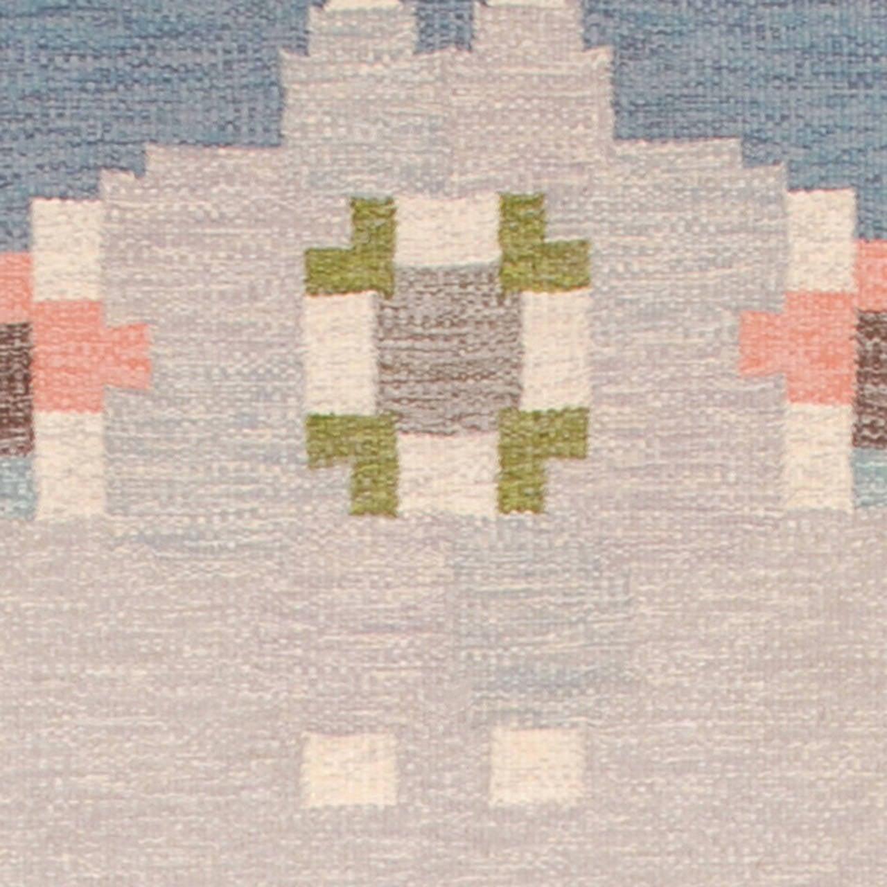 20th Century Swedish Flat-Weave Carpet by Ingegerd Silow Sweden, circa 1940-50 Signed 'IS' (Ingegerd Silow) Flat-weave