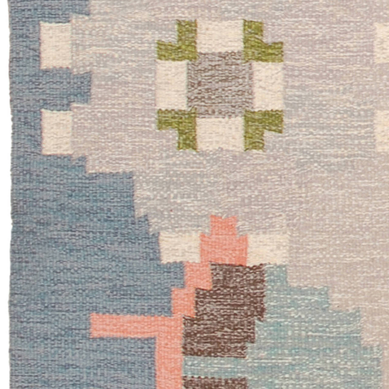 Hand-Woven 20th Century Swedish Flat-Weave Carpet by Ingegerd Silow For Sale