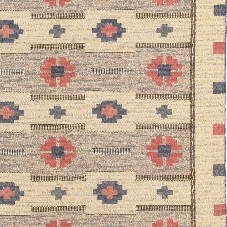 20th Century Vintage Swedish Flat-Weave Carpet For Sale