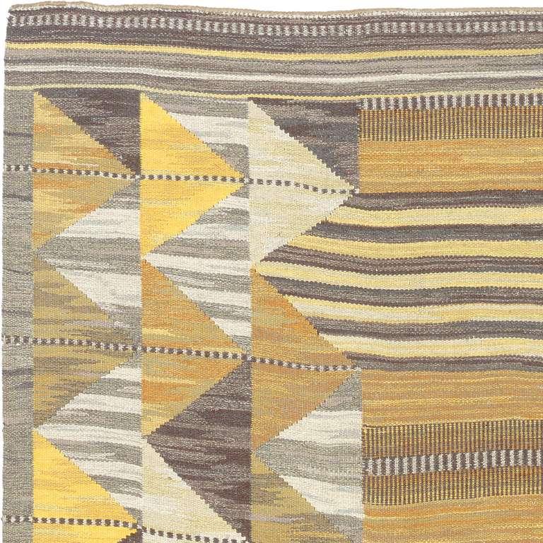Scandinavian Modern Vintage Swedish Flat-Weave Carpet For Sale