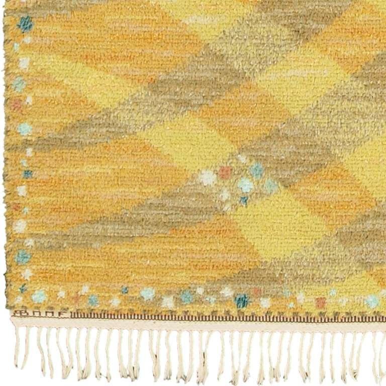 Scandinavian Modern Vintage Swedish Rya Carpet, 'Magdalena, Gul' For Sale