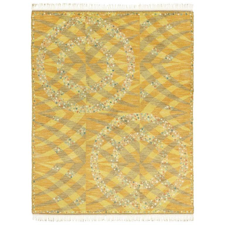 Vintage Swedish Rya Carpet, 'Magdalena, Gul' For Sale