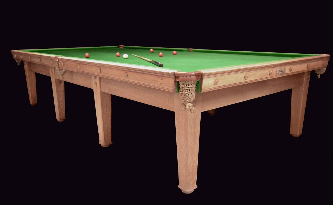 A beautiful 12ft x 6ft oak billiard, snooker or pool table, circa 1907, designed by C F A Voysey, elegant clean lines with tapering chamfered legs.  An identical table was designed by Voysey forThe Homestead at Frinton- on sea, see attached PDF