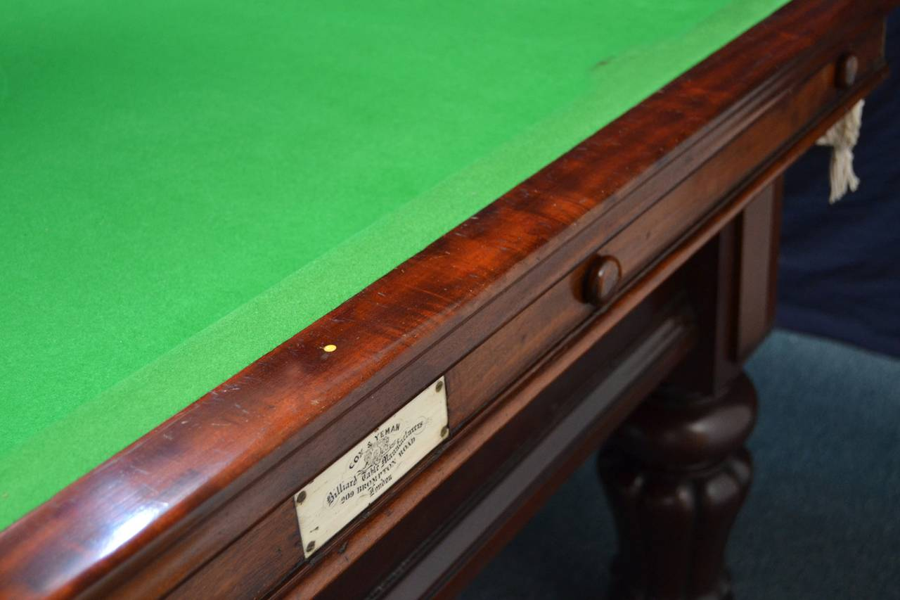 Three quarter size antique billiard snooker or pool for 1 4 size snooker table