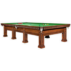 Solid Oak Decorative Billiard, Snooker, or Pool Table, circa 1900