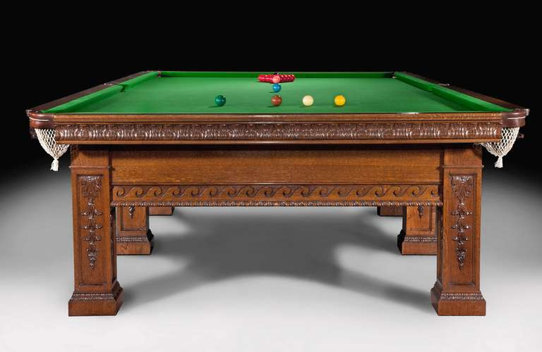 Edwardian Billiard Snooker Pool Table, circa 1900  Solid Oak For Sale