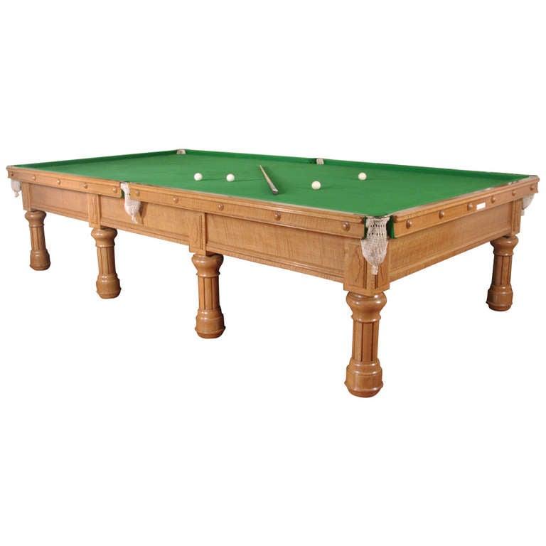 Solid Oak English Billiard Or Snooker Pool Table Circa